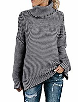 cheap -women turtleneck long sleeve sweater chunky knit jumper casual loose sweater pullover grey