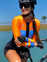 cheap -Men's Women's Long Sleeve Cycling Jersey with Shorts Triathlon Tri Suit Blue+Orange Bike Breathable Quick Dry Sports Mountain Bike MTB Road Bike Cycling Clothing Apparel / Stretchy / Athletic