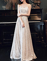 cheap -A-Line Sparkle Sexy Wedding Guest Formal Evening Dress Scoop Neck Short Sleeve Floor Length Sequined with Bow(s) Sequin Tassel 2020