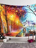 cheap -Oil Painting Style Wall Tapestry Art Decor Blanket Curtain Hanging Home Bedroom Living Room Decoration Romantic Lover Couples Walking in Rain