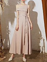 cheap -A-Line Minimalist Elegant Party Wear Prom Dress One Shoulder Short Sleeve Ankle Length Satin with Bow(s) Pleats 2020