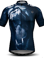 cheap -21Grams Men's Short Sleeve Cycling Jersey Dark Navy Animal Bike Jersey Mountain Bike MTB Road Bike Cycling Breathable Quick Dry Sports Clothing Apparel / Athletic
