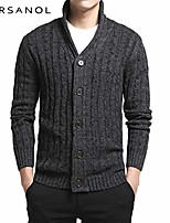 cheap -male sweater varsanol men's sweater 100% cotton long sleeve cardigan mens v-neck sweaters button fit knitting casual style clothing 2 colors