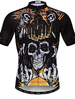 cheap -21Grams Men's Short Sleeve Cycling Jersey Black Skull Bike Jersey Mountain Bike MTB Road Bike Cycling Breathable Quick Dry Sports Clothing Apparel / Athletic