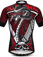 cheap -21Grams Men's Short Sleeve Cycling Jersey Red Skull Snake Bike Jersey Mountain Bike MTB Road Bike Cycling Breathable Quick Dry Sports Clothing Apparel / Athletic