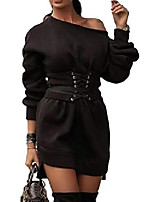 cheap -ladies long sleeve knitted dress sweater dress shift dress casual dress boot dress casual knitted sweater for autumn and winter black 38