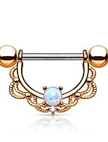 cheap -opal center filigree drop 316l surgical steel nipple ring (rose gold plated)