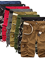 """cheap -Men's Hiking Cargo Shorts Solid Color Summer Outdoor 10"""" Loose Breathable Anti-tear Multi-Pocket Cotton Shorts Black Yellow Red Army Green Camouflage Hunting Fishing Climbing 29 30 31 32 34"""