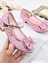 cheap -Girls' Heels Moccasin Flower Girl Shoes Princess Shoes Rubber PU Little Kids(4-7ys) Big Kids(7years +) Daily Party & Evening Walking Shoes Bowknot Buckle Sequin Purple Blue Pink Spring Fall