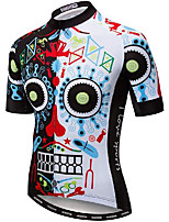 cheap -21Grams Men's Short Sleeve Cycling Jersey White Skull Bike Jersey Mountain Bike MTB Road Bike Cycling Breathable Quick Dry Sports Clothing Apparel / Athletic