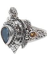 cheap -multi gem .silver ocean life cocktail ring, sea turtle enchantment'
