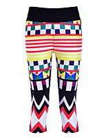 cheap -Women's Basic Casual Comfort Daily Gym Leggings Pants Geometric Pattern Calf-Length Patchwork Print Black