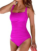 cheap -Women's Fashion Sexy One Piece Swimsuit Solid Color Ruched Padded Normal Strap Swimwear Bathing Suits Black Blue Wine