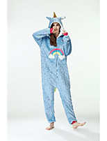 cheap -Kid's Adults' Kigurumi Pajamas Unicorn Flying Horse Onesie Pajamas Flannel Blue / Pink Cosplay For Men and Women Boys and Girls Animal Sleepwear Cartoon Festival / Holiday Costumes