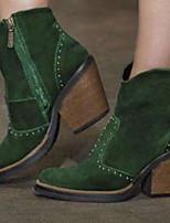 cheap -plus size women suede rivet side zipper chunky heel ankle boots