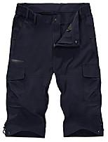 cheap -3/4 cargo shorts men's elastic waistband with leg pockets short hiking trousers thin light men's trousers summer capri trousers men's hunting army shorts dark blue 34