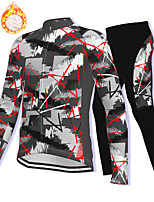 cheap -21Grams Men's Long Sleeve Cycling Jacket with Pants Winter Fleece Spandex Grey Bike Fleece Lining Warm Sports Graphic Mountain Bike MTB Road Bike Cycling Clothing Apparel / Stretchy / Athleisure