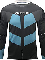 cheap -21Grams Men's Long Sleeve Downhill Jersey Spandex Black / Blue Bike Jersey Top Mountain Bike MTB Road Bike Cycling UV Resistant Quick Dry Sports Clothing Apparel / Athletic
