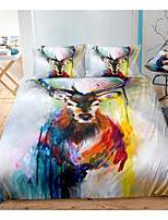 cheap -art elk print 3-piece duvet cover set hotel bedding sets comforter cover with soft lightweight microfiber, include 1 duvet cover, 2 pillowcases for double/queen/king(1 pillowcase for twin/single)