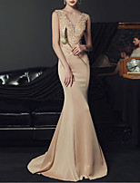 cheap -Mermaid / Trumpet Beautiful Back Sexy Engagement Prom Dress V Neck Sleeveless Floor Length Stretch Fabric with Crystals Appliques 2020