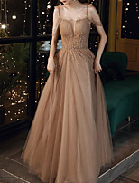 cheap -A-Line Glittering Empire Prom Formal Evening Dress Off Shoulder Short Sleeve Floor Length Tulle with Pleats Beading 2020