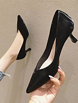 cheap -Women's Sandals Pumps Pointed Toe Casual Daily Walking Shoes Faux Leather Solid Colored Almond Black