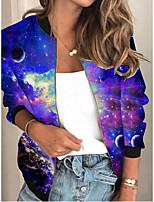 cheap -Women's Print Patchwork Streetwear Spring &  Fall Jacket Regular Sports Long Sleeve Rayon Coat Tops Blue