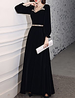 cheap -A-Line Glittering Elegant Wedding Guest Formal Evening Dress Sweetheart Neckline Long Sleeve Floor Length Velvet with Crystals 2020