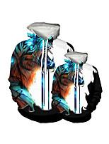 cheap -Family Look Active Tiger Graphic Optical Illusion Animal Print Long Sleeve Regular Hoodie & Sweatshirt Blue
