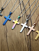 cheap -Pendant Necklace Men's Classic 18K Gold Plated Cross Fashion Vintage European Cute Rose Gold Black Blue Gold Silver Rainbow 60 cm Necklace Jewelry 1pc for Street Gift Daily