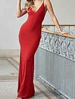 cheap -Mermaid / Trumpet Beautiful Back Sexy Wedding Guest Formal Evening Dress V Neck Sleeveless Floor Length Spandex with Sleek 2020