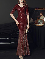 cheap -Mermaid / Trumpet Glittering Sexy Party Wear Formal Evening Dress V Neck Half Sleeve Floor Length Sequined with Pleats Sequin 2020