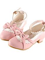 cheap -Girls' Heels Princess Shoes PU Little Kids(4-7ys) Big Kids(7years +) Party & Evening Walking Shoes Black Red Pink Spring Summer
