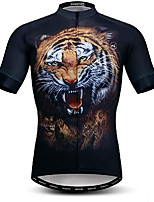 cheap -21Grams Men's Short Sleeve Cycling Jersey Black Tiger Bike Jersey Mountain Bike MTB Road Bike Cycling Breathable Quick Dry Sports Clothing Apparel / Athletic