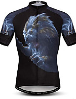 cheap -21Grams Men's Short Sleeve Cycling Jersey Black Lion Bike Jersey Mountain Bike MTB Road Bike Cycling Breathable Quick Dry Sports Clothing Apparel / Athletic