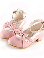 cheap -Girls' Heels Princess Shoes PU Little Kids(4-7ys) Big Kids(7years +) Party & Evening Walking Shoes Black Red Pink Spring
