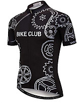 cheap -21Grams Men's Short Sleeve Cycling Jersey Black Gear Bike Jersey Mountain Bike MTB Road Bike Cycling Breathable Quick Dry Sports Clothing Apparel / Athletic