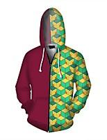cheap -Inspired by Demon Slayer Tomioka Giyuu Cosplay Costume Hoodie Polyester / Cotton Blend Plaid Zipper Printing Hoodie For Men's / Women's