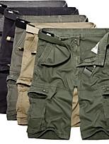 cheap -Men's Hiking Cargo Shorts Solid Color Summer Outdoor Loose Breathable Anti-tear Multi-Pocket Cotton Shorts Black Yellow Army Green Dark Gray Khaki Hunting Fishing Climbing 29 30 31 32 34