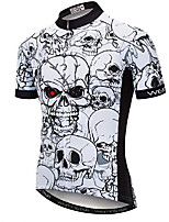 cheap -21Grams Men's Short Sleeve Cycling Jersey Black / White Skull Bike Jersey Mountain Bike MTB Road Bike Cycling Breathable Quick Dry Sports Clothing Apparel / Athletic