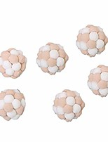 cheap -6pcs cat toy pet cat kitten rolling scratching pompom ball sound maker interactive toy chew play scratch cats interactive toys white + brown