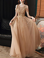 cheap -A-Line Sparkle Elegant Prom Formal Evening Dress Jewel Neck Short Sleeve Floor Length Tulle with Pleats Sequin Tassel 2020