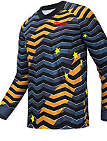 cheap -21Grams Men's Long Sleeve Downhill Jersey Spandex Dark Navy Stripes Bike Jersey Top Mountain Bike MTB Road Bike Cycling UV Resistant Quick Dry Sports Clothing Apparel / Athletic