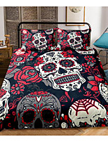 cheap -3d skull print 3-piece duvet cover set hotel bedding sets comforter cover with soft lightweight microfiber, include 1 duvet cover, 2 pillowcases for double/queen/king(1 pillowcase for twin/single)