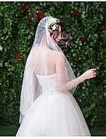 cheap -One-tier Cute Wedding Veil Fingertip Veils with Appliques Tulle