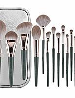 cheap -makeup brushes 14 pcs with brushes bag makeup brush set premium synthetic foundation brush blending face powder blush concealers eye shadows make up brushes kit (green)