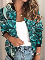 cheap -Women's Geometric Patchwork Streetwear Spring &  Fall Jacket Regular Sports Long Sleeve Rayon Coat Tops Blue