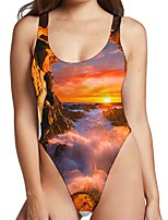 cheap -Women's New Sexy Monokini Swimsuit Color Block 3D Print Bodysuit Normal Strap Swimwear Bathing Suits Orange / One Piece