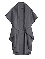cheap -casual irregular cutting sleeveless woman wool coat jackets m deep grey