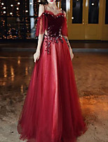 cheap -A-Line Elegant Floral Engagement Formal Evening Dress Spaghetti Strap Short Sleeve Floor Length Tulle with Pleats Appliques 2020
